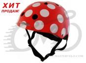 Шлем детский Kiddimoto красный в белый горошек, размер S 48-53см