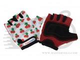 Перчатки детские Kiddimoto белые с вишенками, размер М на возраст 4-7 лет