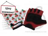Перчатки детские Kiddimoto белые с вишенками, размер S на возраст 2-4 года