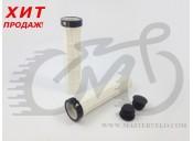 Грипсы Velo 210 130mm белые с одним черным замком