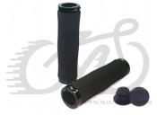 Грипсы Velo 223 130mm вспененная резина, эргономичные, черные с двумя черными замками