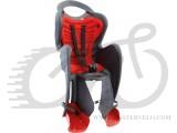 Сиденье заднее Bellelli Mr Fox Сlamp (на багажник) до 22кг, серое с красной подкладкой
