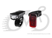 КОМПЛЕКТ: Світло Longus SINGLE переднє+заднє 1+1LED, 2ф-ції/2ф-ції, USB/батарейка, чорний 398590