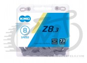 Цепь велосипедная KMC Z8.3 с замком, 116 звеньев, 8 звезд Silver/Gray