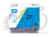 Цепь велосипедная KMC Z7 с замком, 116 звеньев, 7 звезд Gray/Brown