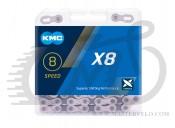 Цепь велосипедная KMC X8 с замком, 116 звеньев, 8 звезд Silver/Gray