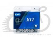 Цепь KMC X11 с замком, 116 звеньев, 11 звезд  silver/black