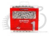 Цепь Sram PC-1 Nickel с замком, 1ск. 114 звеньев, в упаковке, серебристая