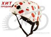 Шлем детский Kiddi Moto белый с вишенками, размер M 53-58см
