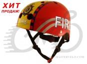 Шлем детский Kiddimoto пожарный, красный, размер M 53-58см 48-53см