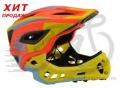 Шлем детский Kiddimoto Icon Full Face, оранжево-желтый, размер S 48-53см