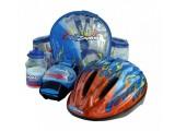 набор KIDZAMO шлем FLAME защита, фляга, рюкзак 52-56см синий