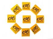 Наклейка светоотражающая 4х4см с логотипом желтая